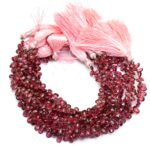 AAA Rhodolite Garnet 7x5mm Pear Briolette | 8inch Strand | Natural Rhodolite Semiprecious Gemstone Briolettes Faceted Pear Beads for Jewelry