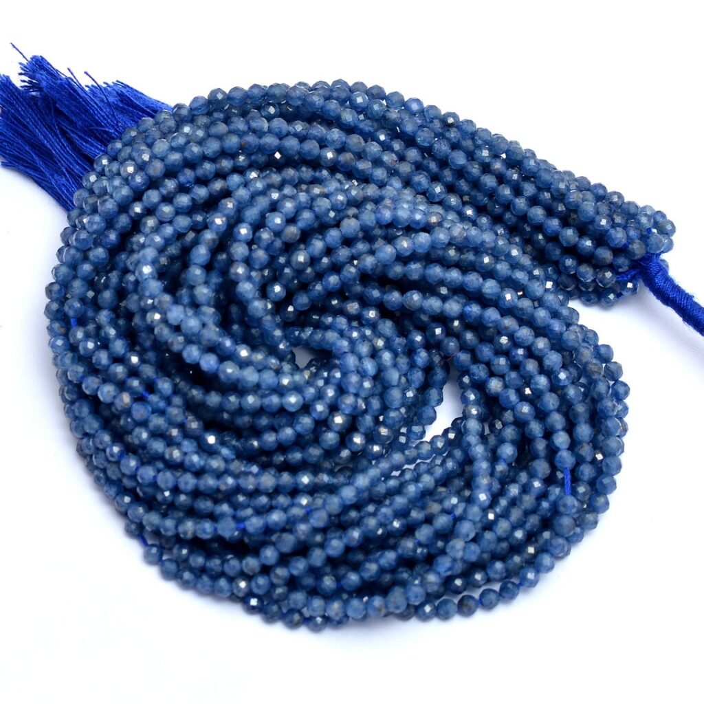 AAA+ Burma Blue Sapphire 2mm-3mm Rondelle Micro Faceted Beads | 13inch Strand | Natural Blue Burmese Sapphire Precious Gemstone Loose Beads