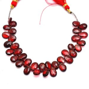 Red Garnet Gemstone Pear Briolettes | 7x10mm Beads 6inch Strand- 95Carats | Natural AAA Red Garnet Semi Precious Gemstone Faceted Briolettes
