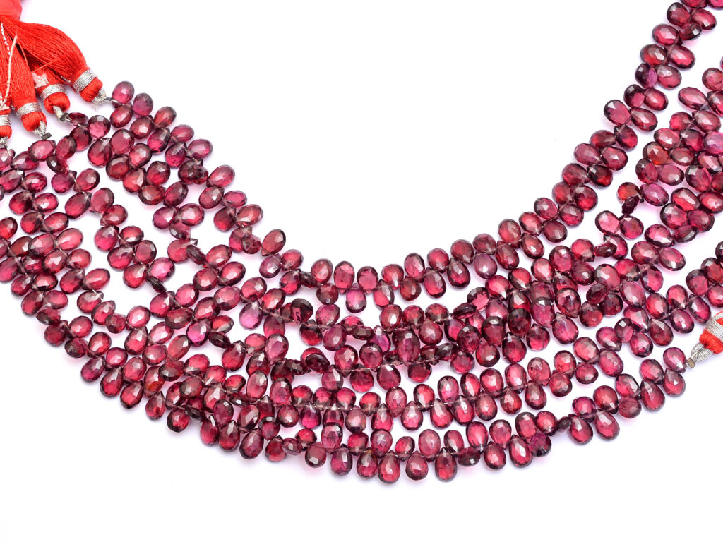 AAA Mozambique Red Garnet Faceted Pear Briolettes | 7x5mm Beads 8″ Strand – 80Carats | Natural Semi Precious Gemstone Loose Briolette Beads