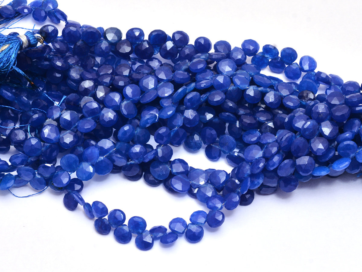 Blue Sapphire Quartz Faceted 7mm Heart Briolettes | 8inch Strand | Sapphire Hydro Quartz Gemstone Faceted Briolette Loose Beads for Jewelry